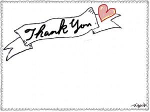 Thank youの手書き文字とハートとリボンとレースのフレームのフリー素材:640×480pix