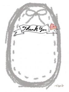Thank youの手書き文字とグレーのリボンとステッチのラベルのフリー素材:480×640pix