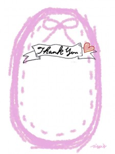 Thank youの手書き文字とピンクのリボンとステッチのラベルのフリー素材:480×640pix