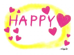 HAPPYの手書き文字とハートいっぱいの水彩のにじみのフリー素材:640×480pix