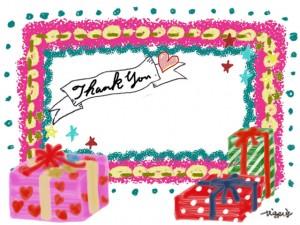 プレゼントボックスとポップなフレームとThank Youの手書き文字のリボンの見出し:640×480pix