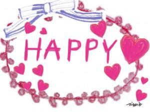 ピンクのハートとThank youの手書き文字とリボンのラベルのフリー素材:480×640pix