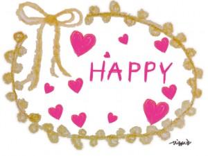 HAPPYの手書き文字とハートとリボンの飾り枠のフリー素材:480×640pix
