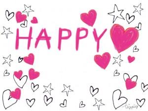 HAPPYの手書き文字と星とハートのフリー素材:640×480pix