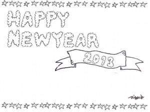 モノトーンのもこもこのHAPPY NEW YEAR 2013の手書き文字と星のフリー素材:640×480pix