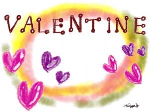 ピンクと紫のハートと水彩のにじみとVALENTINEの手書き文字のフレーム:640×480pix