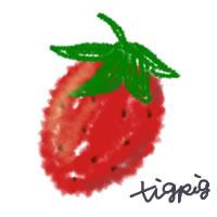 大人可愛いイチゴのアイコンのフリー素材:200×200pix