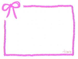 ピンクのリボンとラフなラインの囲み枠のフリー素材:640×480pix