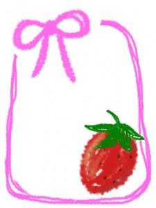 大人可愛いイチゴとピンクのリボンの飾り枠のフリー素材:480×640pix