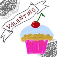 アイコンのフリー素材:サクランボのカップケーキとVALENTINEの手書き文字;200×200pix