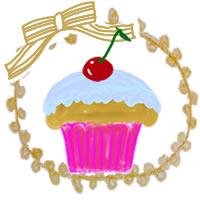 アイコンのフリー素材:サクランボのカップケーキとリボンとレースのフレーム;200×200pix