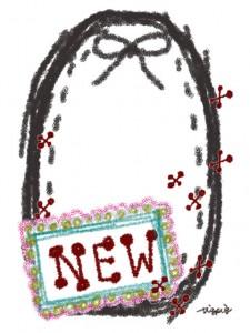 """大人可愛い手書き文字""""NEW""""とリボンと楕円のラベル風のフリー素材:480×640pix"""