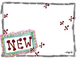 """ガーリーな""""NEW""""の手書き文字と鉛筆画きのラフなラインのフレーム"""