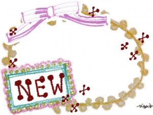 """フリー素材:大人可愛い""""NEW""""の手書き文字とレースとリボンの楕円のフレーム;640×480pix"""