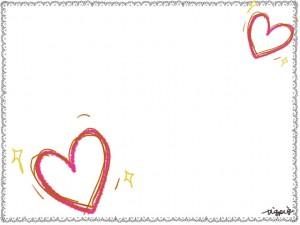 大人可愛い手描きのハートとモノトーンのレースのフレームのフリー素材;640×480pix