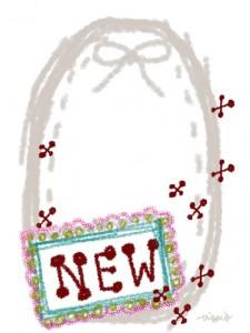 """大人可愛い手書き文字""""NEW""""とグレーのリボンと楕円のリボンのラベルのフリー素材:480×640pix"""