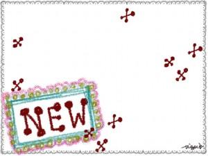 """ガーリーな""""NEW""""の手描き文字とクロス模様とレースのフレームのフリー素材;640×480pix"""