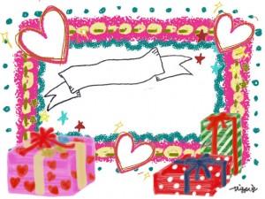 大人可愛いピンクのフレームとプレゼントボックスとハートとリボンのフリー素材:640×480pix