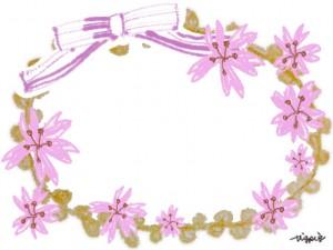 大人可愛いピンクの桜とりぼんのフレームのフリー素材:640×480pix