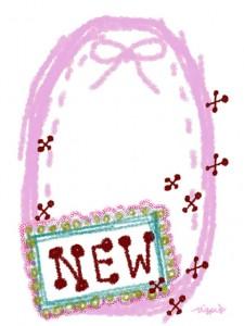 「NEW」の手書き文字とピンクのリボンとラフなラインのラベル風フレームのフリー素材:480×640pix