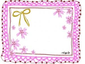 大人可愛い手描きの桜とリボンとピンクのレースのフレームのフリー素材:640×480pix