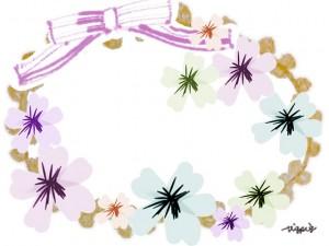 春らしいパステルカラーの花とリボンのフレームのフリー素材