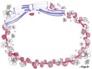 春のラベル風フレーム:ガーリーで大人可愛いリボンと鉛筆画きの小花いっぱいのフリー素材