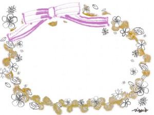 春のフリー素材:ガーリーで大人可愛いピンクのリボンと鉛筆画きの小花いっぱいの芥子色のラベル風フレーム