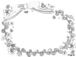 モノトーンのフリー素材:ガーリーで大人可愛いリボンと鉛筆画きの小花いっぱいのラベル風フレーム
