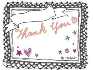 フリー素材:Thank youの手書き文字と大人可愛いレースとリボンの見出しとハートと星のフレーム