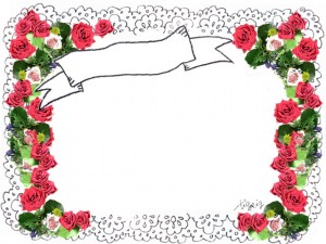 ガーリーで大人可愛いレースと薔薇の花いっぱいのフレーム