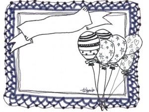 ガーリーで大人可愛い紺色のレースとメルヘンな風船いっぱいのフレーム