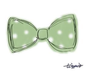 大人可愛いパステルグリーンのドットのリボンのイラストのフリー素材