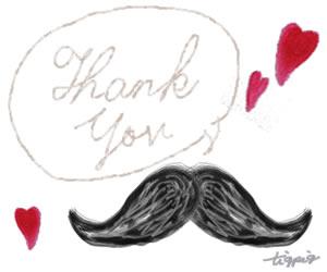 父の日のHP制作に使える大人可愛い黒ひげと「Thank you」の手書き文字と吹出しとハートのフリー素材