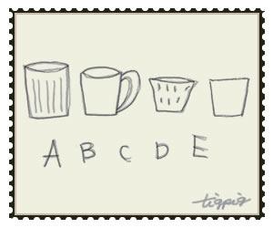 HP制作に使える切手風デザインの北欧雑貨風マグカップとAからEの手書き文字のフリー素材