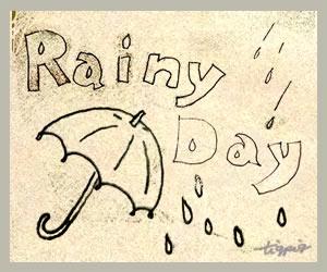 HP,ブログ制作の挿絵に使えるヴィンテージ風デザインの「Rainy day」の手書き文字と傘のイラストのフリー素材