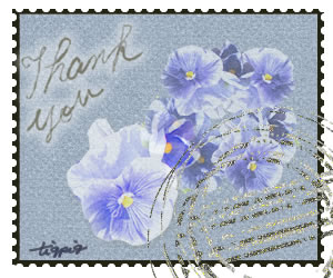 夏のHP制作に使える切手風デザインの消印と「Thank you」の手書き文字と花のフリー素材