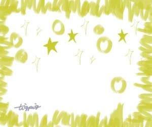 七夕のHP制作に使える星とキラキラとラフなラインのフレーム(黄色)のフリー素材