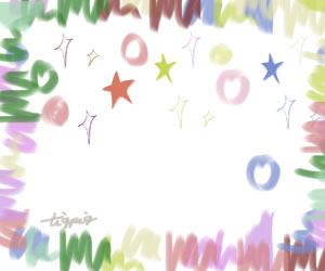 七夕のHP制作に使えるパステルカラーの星とキラキラとラフなラインのフレームのフリー素材