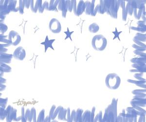 夏のHP制作に使えるパステルブルーの星とキラキラとラフなラインのフレームのフリー素材