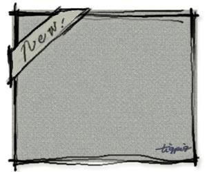 HP制作に使える大人可愛い手書き文字「New」のリボンの見出しとラフなラインのフレームのフリー素材