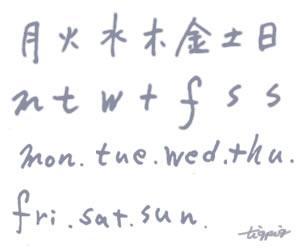 大人可愛いHP制作に使えるブルーグレーのインク風の一週間の曜日の手書き文字のフリー素材