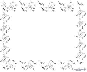 大人可愛いHP制作に使えるモノトーンの乙女な小花のフレームのフリー素材