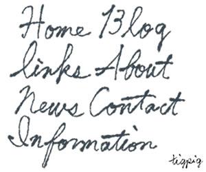 HP制作のナビゲーションメニューに使えるブルーブラックの大人可愛いインク風手書き文字のフリー素材