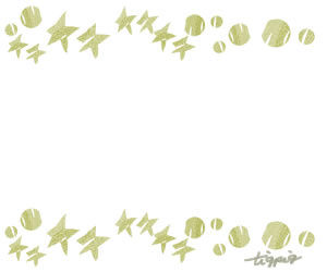 大人可愛いHP制作に使えるパステルグリーンのガーリーな星とドットのフレームのフリー素材