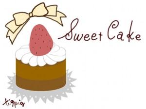 大人可愛いHP制作に使えるイチゴケーキとリボンのイラストとSweet Cakeの手書き文字のフリー素材