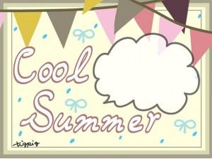 夏のHP制作に使える大人可愛い旗とフキダシとCool Summerの手書き文字のフレームのフリー素材