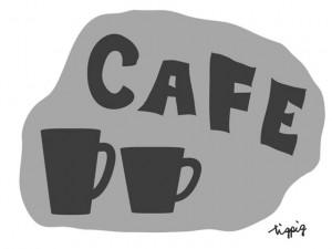 大人可愛いHP制作に使えるモノトーンのマグカップとCAFEの手書き文字のフリー素材