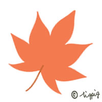 秋のwebデザインに使えるフラットデザイン風のもみじのイラストのアイコン;200×200pix