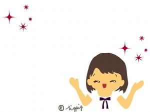 大人かわいい笑顔の女性とキラキラの星の無料イラスト素材:640×480pix